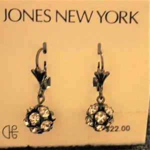 Vtg Jones NY Dangly Rhinestone Ball Earrings
